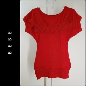 Bebe Woman Knit Short Sleeve Blouse Size L Red